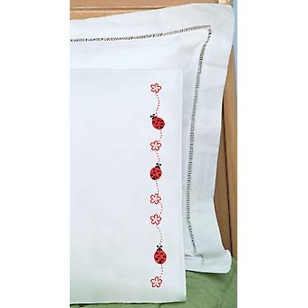 Children's Stamped Pillowcase With White Perle Edge 1 Pkg Ladybugs 1605 468