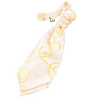Boy's Gold Scroll Patterned Scrunchie Wedding Cravat