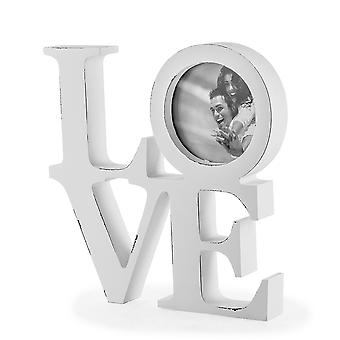 White Wooden Rustic Finish 'LOVE' Photo Frame