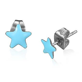 Urbano maschio blu resina & acciaio inox 7mm stelle Stud Earrings