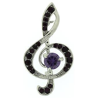 Broscher lagra Amethyst Purple Crystal diskant Clef musik not brosch