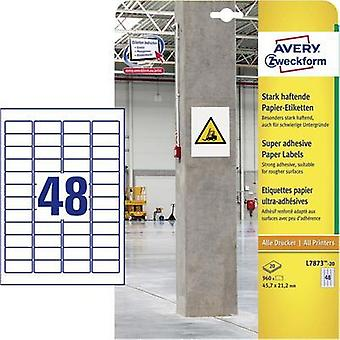 Avery-Zweckform L7873-20 Labels (A4) 45.7 x 21.2 mm Paper White 960 pc(s) Permanent, Strongly adhesive Adhesive labels (