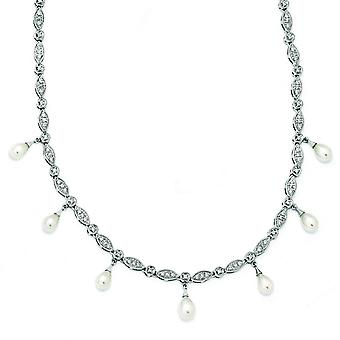 Sterling Silver CZ Freshwater Cultured Pearl Necklace - 18 Inch