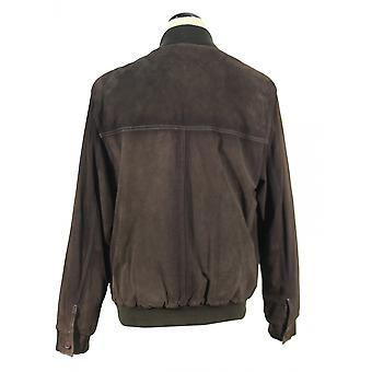 Colombatti - men's jacket suede leather jacket NubukLook Brown contrast seam