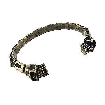 Brünierter Goldtone Finish Schädeln und Knochen Torc Armband Manschette