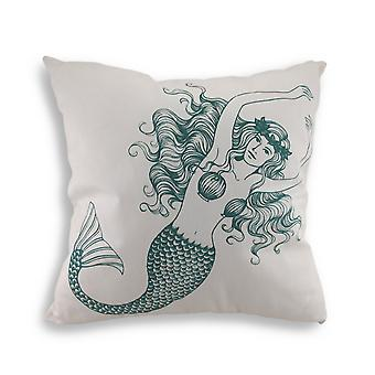 Blue and White Mermaid Cotton Canvas Decorative Throw Pillow 18 in