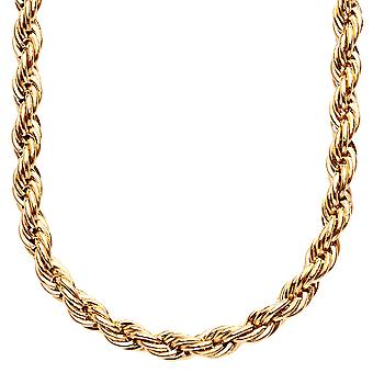 Iced out stainless steel ROPE cord chain - 6 mm gold