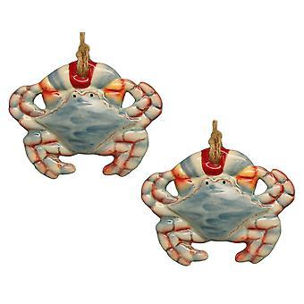 Kystnære Maryland Blue krabber keramiske Christmas Holiday Ornament sæt af 2