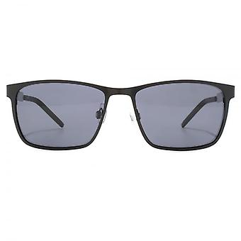 Polaroid Contemporary Metal Square Sunglasses In Matte Black Polarised