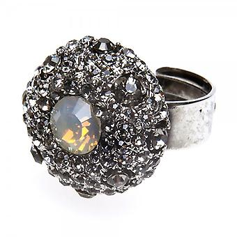 Camille Womens Ladies Fashion Jewellery Silver Tones Opaque Diamante Ring