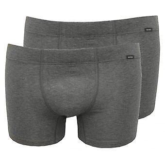 Hanro Cotton Essentials 2-Pack Boxer Trunks, Grey Melange
