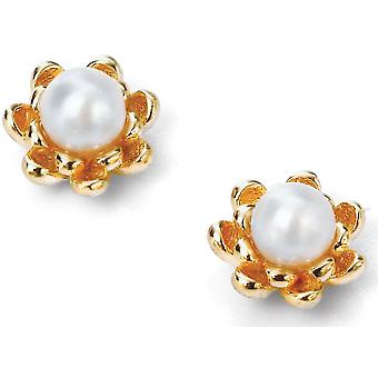 925 Silver Gold Plated Pearl And Flower Earring