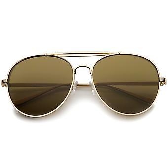 Moderne mode flad linse fuld Metal sidedæksel ramme dobbelt Bridged Aviator solbriller
