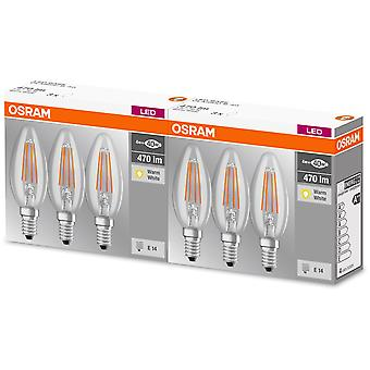Osram Pack 3 Unidades Led Base Vela Filamento 40 No Regulable 4W/827 E14