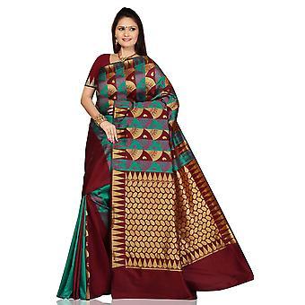 Abrigo de danza del vientre marrón arte seda Sari sari turquesa