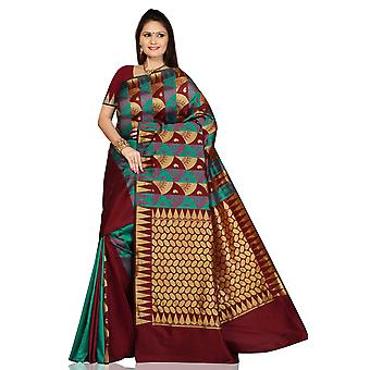 Turchese Maroon arte seta Sari Saree bellydance wrap