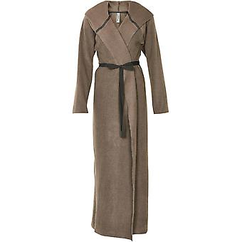 Henriette Steffensen of long Womens fleece coat in Brown