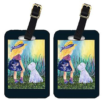 Carolines Treasures  SS8351BT Little Girl with Westie Luggage Tags Pair of 2