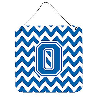 Letter O Chevron Blue and White Wall or Door Hanging Prints