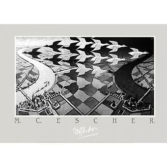 Dag og nat - MC Escher Poster plakat Print