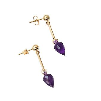 Gemshine - ladies - earrings - gold plated drop - Amethyst - - faceted - violet - 3 cm