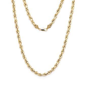 Floreo 10k Gelb Gold Diamanten geschnitten hohlen Seil Kette mit Karabinerverschluss Klaue, 5mm