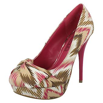 Ladies Spot On High Heeled Platform Court Shoe