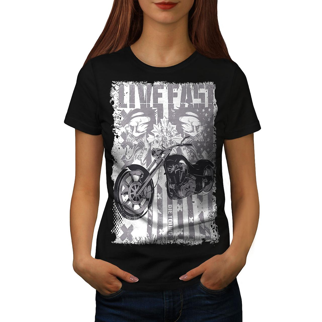 Live USA Flag Biker Women Black T-shirt | Wellcoda
