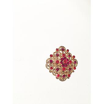 gold and dark pink/red brooch
