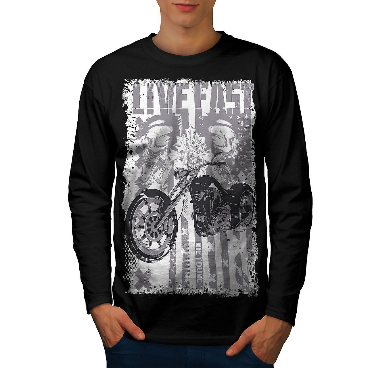 Levande USA flagga Biker män Svart långärmad T-shirt | Wellcoda