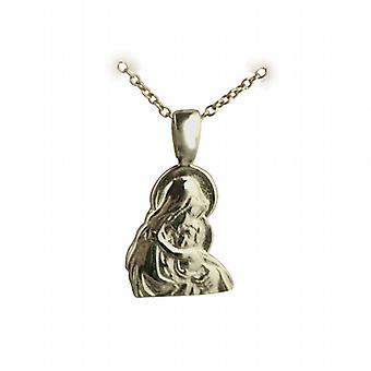 9ct Gold 15x12mm Madonna and Child Pendant on a cable Chain 16 inches Only Suitable for Children