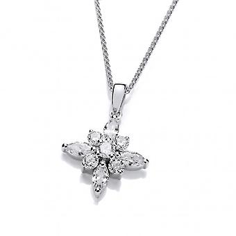Cavendish French Silver and CZ Shining Star Pendant with 16-18