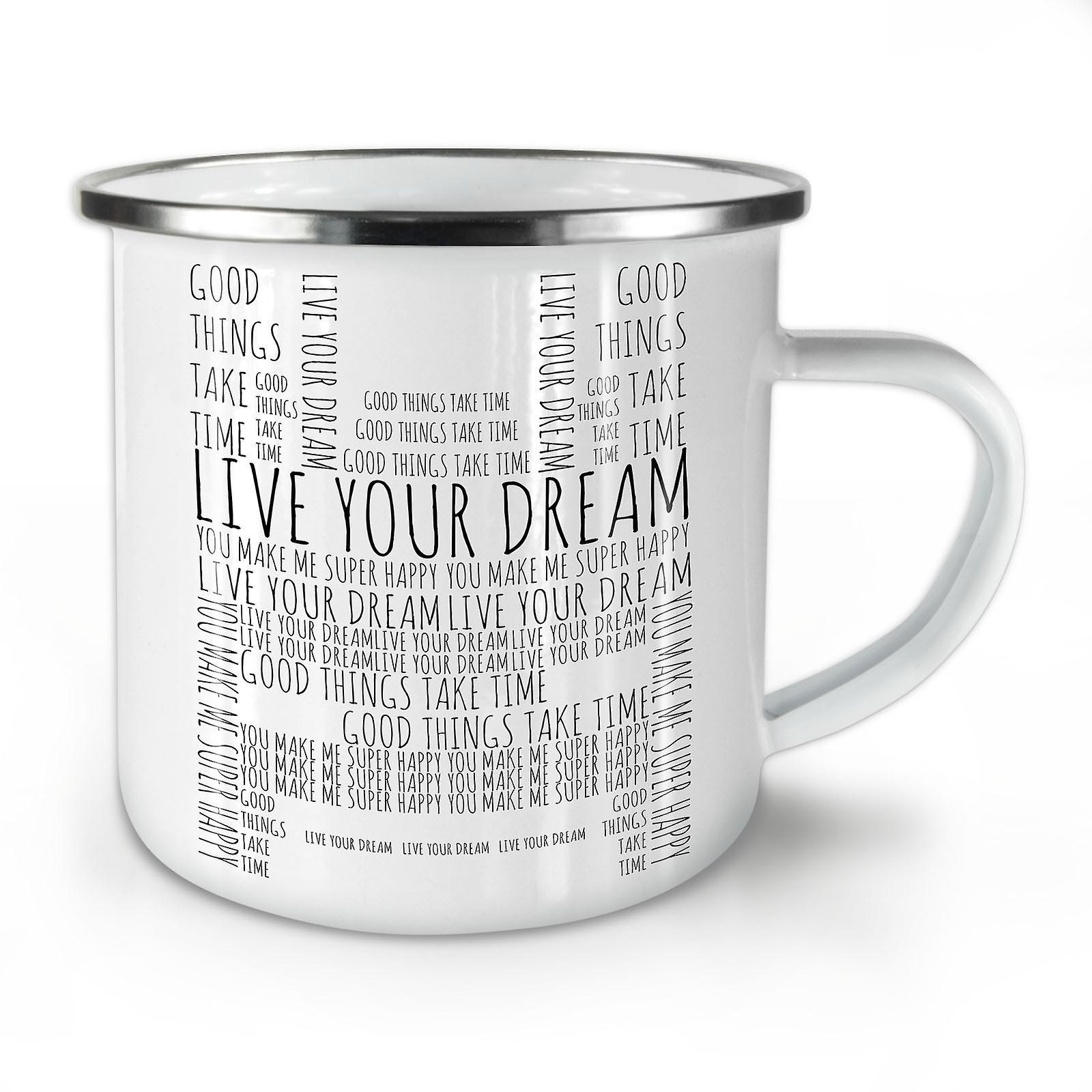 Rêve Whitetea Vivre Slogan Votre Mug10 Nouveau Café Émail OzWellcoda OP08wkXn