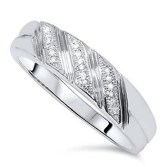1 / 5ct Mens diamant Ring 10K vitt guld