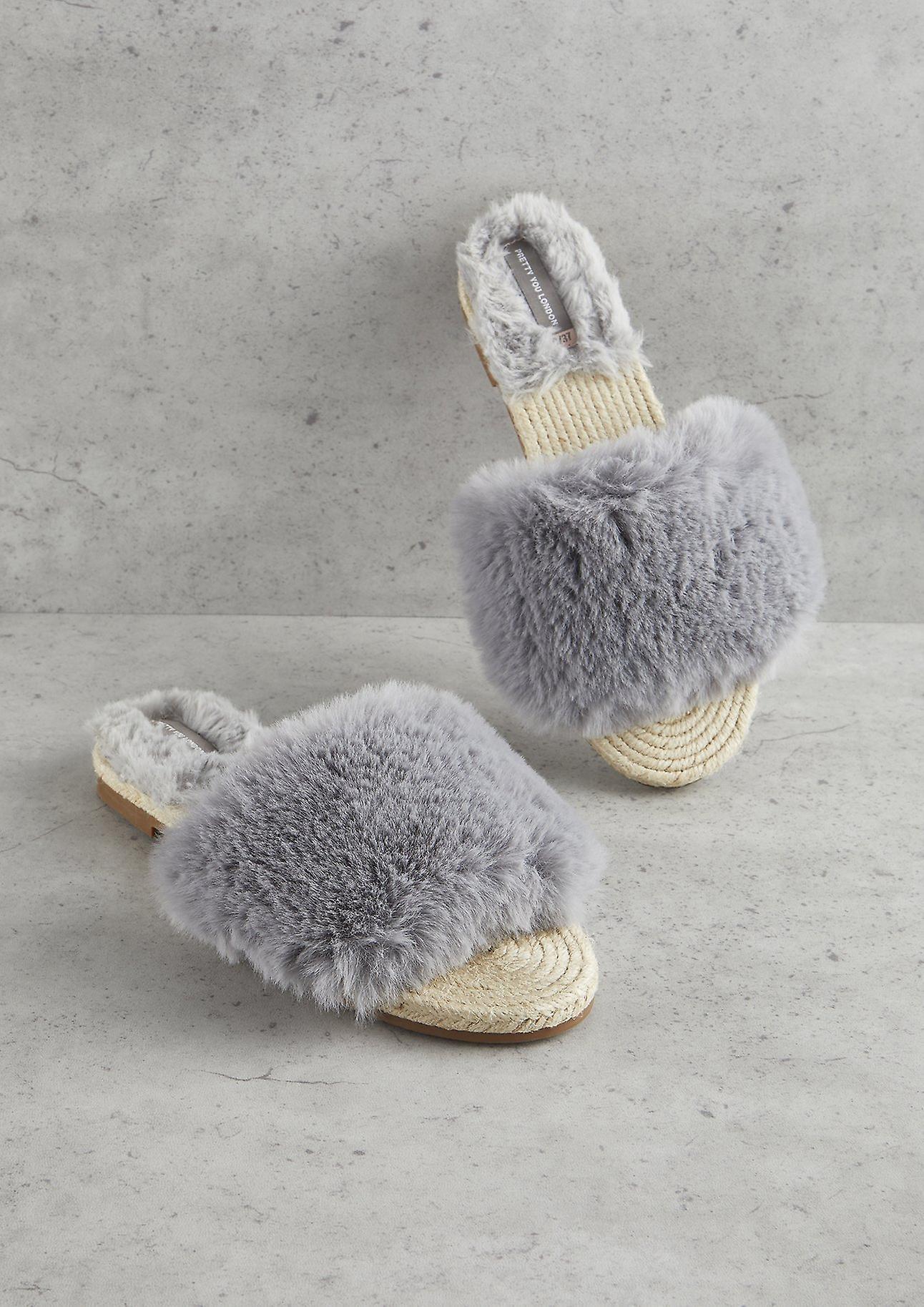 A buon mercato Grey Faux Fur Sandal alta qualità