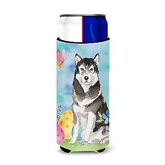 Easter Eggs Alaskan Malamute Michelob Ultra Hugger for slim cans