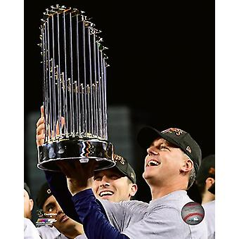 AJ Hinch with the World Series Championship Trophy Game 7 of the 2017 World Series Photo Print