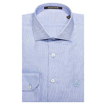 Roberto Cavalli Men's Spread Collar Checkered Cotton Dress Shirt Blue