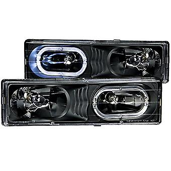 Anzo USA 111007 Crystal With Halo Black Headlight Assembly - (Sold in Pairs)