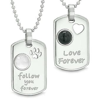 Love and Follow You Forever Heart Wolf Paw Yin Yang Love Couples Necklaces