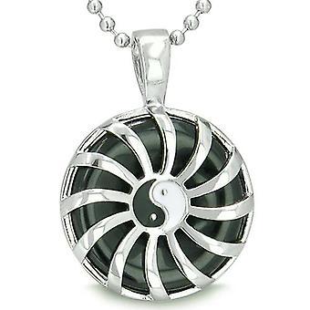 Positiv energi Sun Yin Yang medaljong Amulet Magic Circle krefter Onyx Lucky Charm anheng halskjede