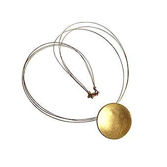 Collier ladies GEMSHINE en qualité Matt finition argent 925 plaqué or. Ronde de concepteur pendentif avec chaîne. Fait à Madrid, Espagne. Dans les bijoux élégant avec boîte-cadeau