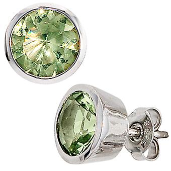Earrings-925 /-s Green Green crystals earrings 925 sterling silver
