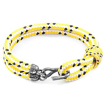Anchor & Crew Yellow Dash Great Yarmouth Silver and Rope Bracelet