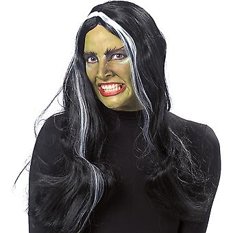 Witch wig adult black long hair wig Centre parting Halloween