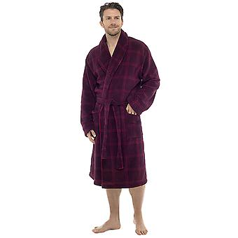 Tom Franks Mens Check Print Supersoft Fleece Dressing Gown