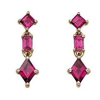 Elements Gold Mixed Shape Brazillian Garnet Drop Earrings - Gold/Red
