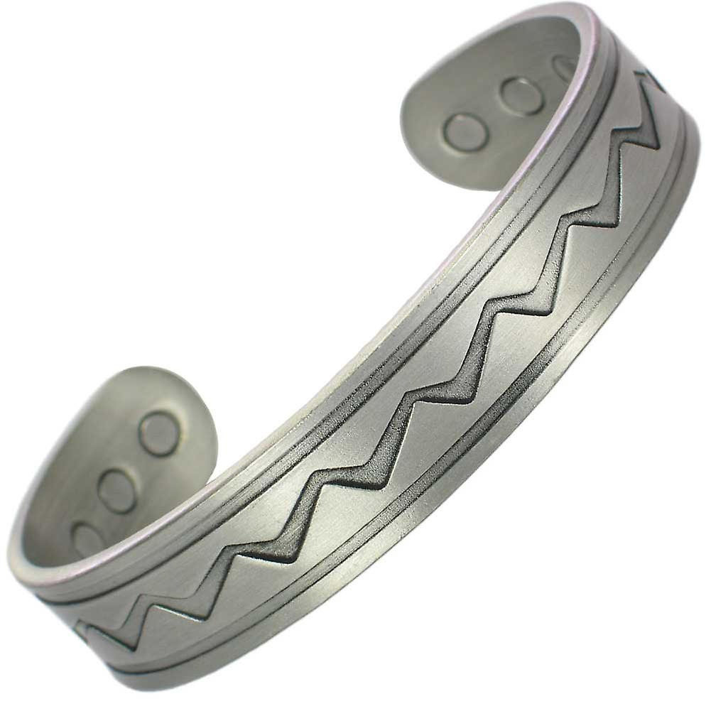 MPS® ZIGZAG Pewter Magnetic Bangle with 6 Magnets with Luxury Gift Pouch
