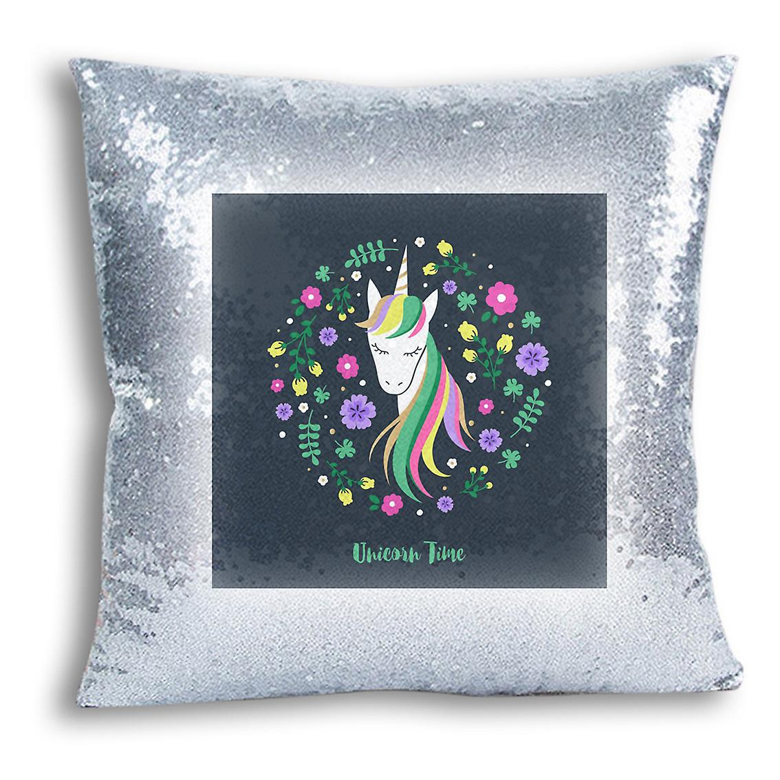 I Decor Cover With Design CushionPillow Home 15 Inserted For Printed tronixsUnicorn Sequin Silver Yfgvb76y
