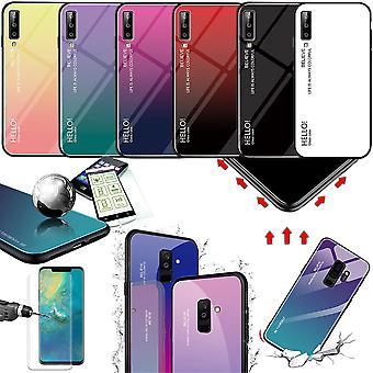 Voor vele smartphone modellen ontwerp effect kleur tas case hoes glasdeel